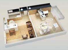Planta isométrica - 1 sala - Consultório odontológico. | http://planoeplano.com.br/imovel/time-center-campinas