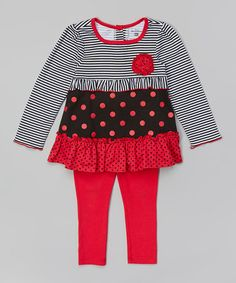Another great find on #zulily! Fuchsia Stripe Tunic & Leggings - Infant, Toddler & Girls #zulilyfinds
