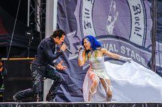 #KAMELOT LIVE at #SwedenRock Fest 2014 - Tommy Karevik and guest singer Alissa White-Gluz (Arch Enemy). Photo credit Pit Art Photography. #SwedenRockFestival
