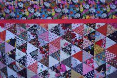 Debra Lynn Dixon: Skulls & Roses 1000 Pyramid Quilt Detail  Day of the Dead fabric