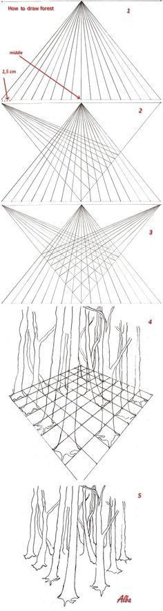 draw forest Nearby trees trunks and large tree trunks distant thinner. In each frame can be placed trees. Nearby trees may cover part of the more distant trees. This tutorial will continue as soon ...