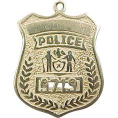 Vintage 14k Gold Police Badge Charm