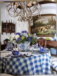 French Country checked table.  I love hydrangea's, but the centerpiece overpowers the table, smaller is better.