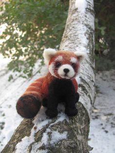 Firefox needle felted red panda from HandmadeByNovember. Saved to Epic Wishlist. #redpanda.