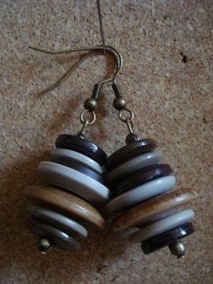 Stacked Button Earrings by FineArtandEphemera on Etsy, $8.00
