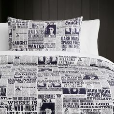 HARRY POTTER™ DAILY PROPHET™ Duvet Cover + Sham. Extra! Extra! Read all about it! Get the latest scoop and wizardry news in the Daily Prophet™ with our statement-making printed duvet cover and sham. Featuring headshots of our favorite wizard to news of dark magic taking over the wizardry world, you'll be sleeping on a bed of information. Made from pure cotton percale, this layer is soft as is magical.