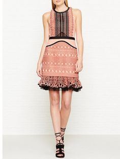 THREE FLOOR Sundown Floral Embroidered Lace Panelled Dress - PeachSize & Fit True to size - order your usual size Fitted styleModel is 5'10