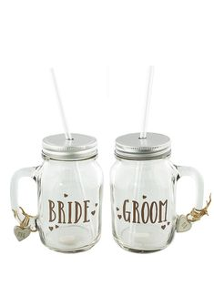 Love story have designed a very modern and new way to toast your marriage. Designed with a fabulous silver lid and straw and two wooden charms on the Love Story, First Love, Wedding Gifts, Mason Jars, Groom, Marriage, Decorations, Mugs, Bride