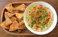 Classic baba ghanoush dip with smoky roasted eggplant, tahini, garlic, lemon, olive oil and spices.