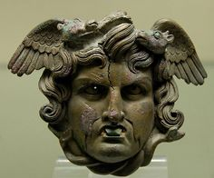 Head of a marine Medusa, Bronze, Roman artwork, ca. 50–75 CE.