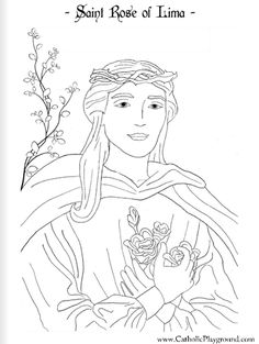 Saint Rose Of Lima Catholic Coloring Page Feast Day Is August 30th