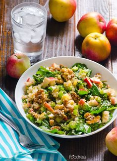 Cinnamon Apple, Walnut, Kale and Quinoa Salad -- Heart warming one meal, gluten free and vegan salad. Delicious fall in a bowl. The cinnamon dressing is delicious.