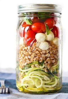Zucchini Noodle Mason Jar Salad With Farro + Mozzarella.