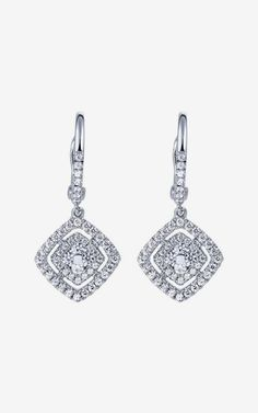 14k White Gold Clustered Diamonds Drop Earrings