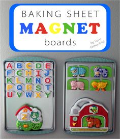 Baking Sheet Magnet Boards | Love Grows Wild Is your refrigerator taken over by kid's magnets? This will show you how to use dollar store baking sheets to create a magnet activity center for you kids! Includes tips to easily attach baking sheets to wall! #kids #magnet #diy