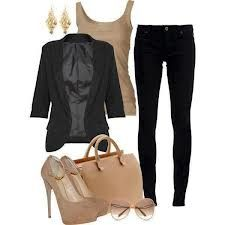 Beige shirt with black pants and blazer