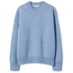 Wool Oversized Crewneck ❤ liked on Polyvore featuring tops, sweaters, blue crew neck sweater, oversized crew neck sweater, blue crewneck sweater, light blue sweaters and crew-neck sweaters