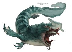 Deep Blue Creature by Edin Durmisevic Monster Concept Art, Fantasy Monster, Monster Art, Monster Hunter, Alien Creatures, Magical Creatures, Mythical Sea Creatures, Cool Monsters, Sea Monsters