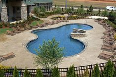 Stamped concrete pool deck. Contractor: Jeffco Concrete Contractors