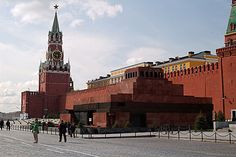 Lenin's Mausoleum and Spasskaya Tower of the Kremlin at Red Square, Moscow - Russia