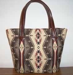 Wool Leather Tote Bucket Bag Extra Large Purse Carry On Pendleton Fabric. $88.00, via Etsy.