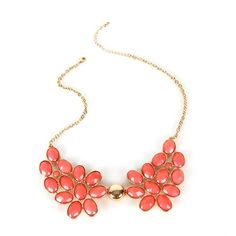 Coral Gemstone Cluster Necklace ($15) ❤ liked on Polyvore