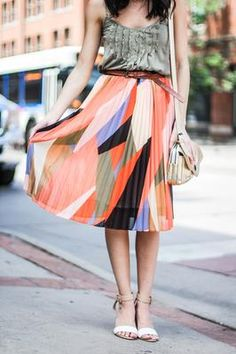 Pleated Colorblock Skirt Love the print and colors