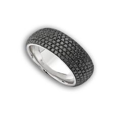 Theo Fennell - White Gold & Black Diamond 7 Row Spangle Ring