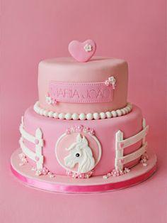 Pink & white little girl's horse #cake. sabores da gula