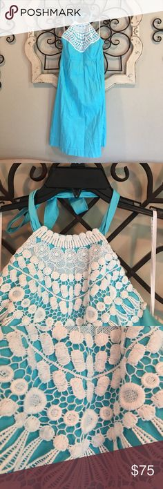 Lilly Pulitzer Halter Dress Size 12. Halter dress with tie. Teal with white detail. Hits mid knee. Lightly worn. Lilly Pulitzer Dresses Strapless