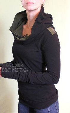 Handmade to order. Please check the shop announcement for my current turnaround time. https://www.etsy.com/shop/joclothing Comfortable cotton spandex jersey hooded top. Extra super long sleeves. Black with Dark Olive and Cement grey stripes on shoulders. Dark Olive lining in hood. Body
