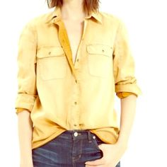 Madewell work shirt Rustic yellow 3/4 length sleeve button-up 100% cotton,  soft but has a stiff feel to the fabric. Great wear as a casual over coat. Never worn. Madewell Tops Button Down Shirts