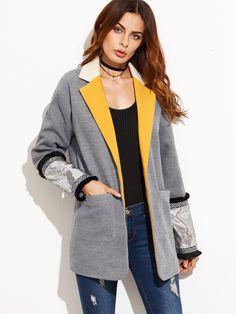 Shop Grey Contrast Notch Collar Boyfriend Blazer With Sequin Cuff online. SheIn…