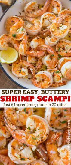 Scampi - Dinner, then Dessert Shrimp Scampi is the ultimate Italian Shrimp Recipe with wine, butter, garlic, red pepper flakes and a fresh squeeze of lemon juice. Healthy Shrimp Scampi, Garlic Shrimp Scampi, Italian Shrimp Recipes, Seafood Recipes, Recipes With Shrimp, Shrimp Dinner Recipes, Pasta Recipes, Crockpot Recipes, Soup Recipes