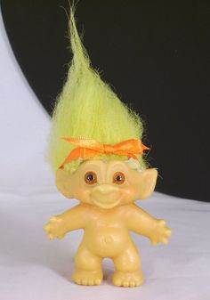 Vintage SHE Dam Troll Doll Yellow Mohair Amber Glass by UrsToday, $35.00