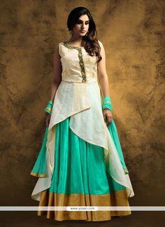 Winsome Resham Work Beige And Sea Green Anarkali Salwar Kameez Model: YOS7644
