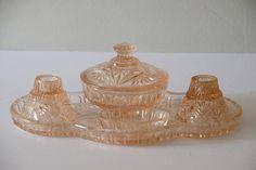 1950's Crystalor Vanity Set Peach Pink Pressed Glass Dresser Set 6 Piece vintage ladies Brush set trinket dish candlesticks pin dish by VintageFlicker