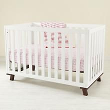 Baby Cribs: Baby Painted White Low Rise Modern Crib with Espresso Base in Cribs & Bassinets | The Land of Nod