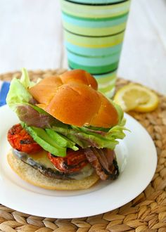 Grilled Portobello mushroom burgers and chipotle mayonnaise