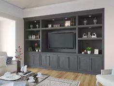 Built In Tv Cabinet, Built In Wall Units, Built In Shelves Living Room, Tv Built In, Living Room Wall Units, Built In Bookcase, Built In Cabinets, Home Living Room, Living Room Designs
