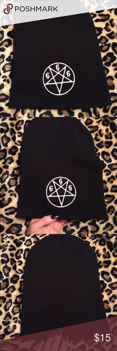 Pentagram beanie from dollskill O/s pentagram 666 beanie. Bought from dollskill. Never worn. Smoke free, pet hair free home🤘🏼🖤🔥💀🌙👹 dollskill Accessories Hats