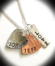 HandStamped Jewelry Couples Necklace Hearts Love by ThatKindaGirl, $22.00