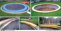 A newly landscaped, child friendly garden THE PROBLEM: The landscapers had built a brick surround to the sunken trampoline! THE SOLUTION: A hand crafted rubber crumb (The wet pour safety surface found in many park, school and council playgrounds) safety layer to protect the children should they fall and bump the side of the trampoline - A time consuming, skilled but very worthwile job.