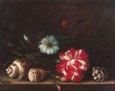Балтазар ван дер Аст. Гвоздики и раковины на каменном столе