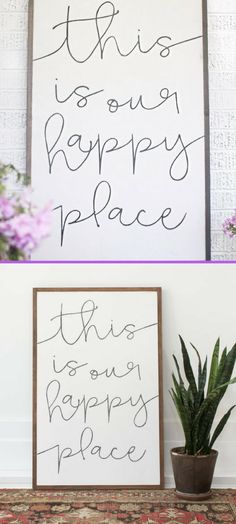 """I am in love with this wood sign. """"This is our happy place"""" Perfect for my living room. #farmhouse #ad #inspirational #woodsign #rustic"""