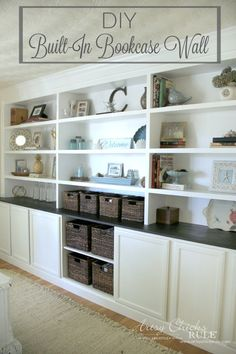 DIY Built-In Bookcase Wall - Custom Look DIY - artsychicksrule #bookcase #diy
