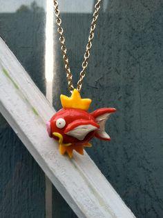 Pokemon Necklace- Magikarp Polymer Clay Charm. $15.00, via Etsy.