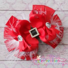 Santa's Suit Stacked Boutique Hairbow-santa, christmas, x-mas, holiday, marabou, belt, bling, rhinestone, feathers, red, white, black, santa baby, over the top, ott, tbb, twisted, hairbow, bottle cap, bottlecap