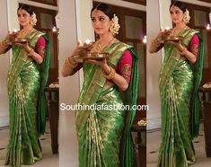 Actress Vedhika celebrated Pongal wearing a green kanjeevaram silk saree paired with contrast maroon elbow length sleeves blouse Bridal Sarees South Indian, South Indian Weddings, Indian Bridal Fashion, Indian Sarees, Silk Sarees, Pattu Sarees Wedding, Wedding Saree Blouse, Saree Draping Styles, Saree Styles
