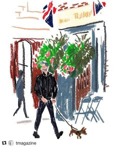 #Repost @tmagazine ・・・ The illustrator Damien Florébert Cuypers (@flrbrt) continues his #snapsketch series from #lfw, capturing the costume supervisor David Davenport arriving at the @faustinesteinmetz presentation at Old Spitalfields Market with...
